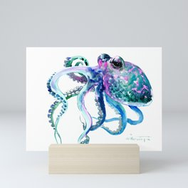 Octopus, Turquoise Green Purple Pink Octopus Design Mini Art Print