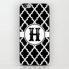 Black Monogram: Letter H iPhone Skin