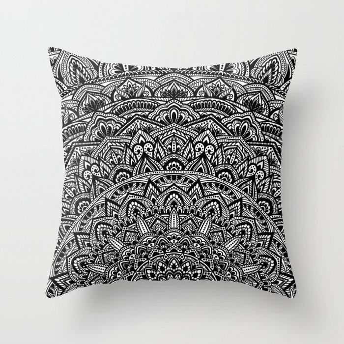 Zen Throw Pillows : Zen Black and white Mandala Throw Pillow by maria_so Society6