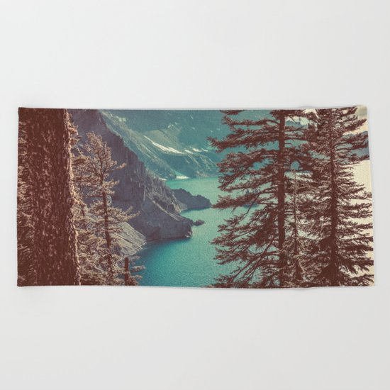 Vintage Blue Crater Lake and Trees Beach Towel