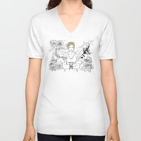 pisces V-neck T-shirts featuring Pisces by Cassandra Jean