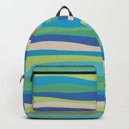 Blue Green Stripes Waves Backpack