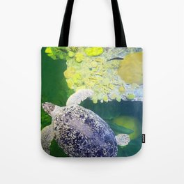 Sea Turtle on Lime Green Tote Bag