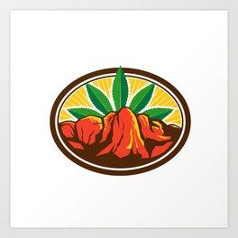 Canyon With Hemp Leaf Oval Retro Art Print