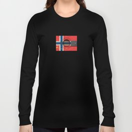 Old Vintage Acoustic Guitar with Norwegian Flag Long Sleeve T-shirt