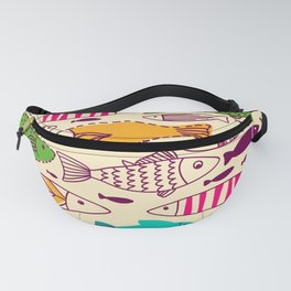 Colorful Vintage Retro Styled Illustrated Fish School Design Fanny Pack