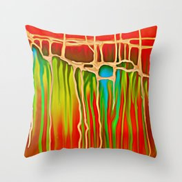 Distant Trees in Orange and Lime Throw Pillow