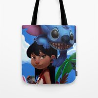 lilo and stitch Tote Bags featuring Lilo & Stitch by Archiri Usagi