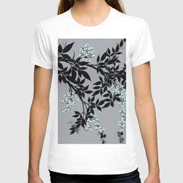 TREE BRANCHES BLACK AND GRAY WITH BLUE BERRIES T-shirt