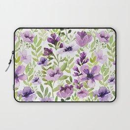 Watercolor/Ink Purple Floral Painting Laptop Sleeve