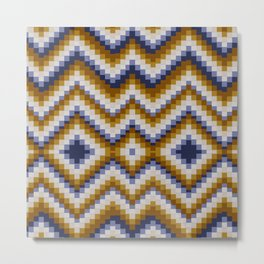 Patchwork pattern - sand and blue Metal Print