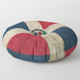 Old and Worn Distressed Vintage Flag of Dominican Republic Floor Pillow