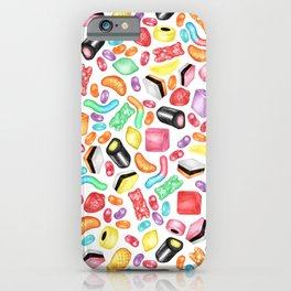 Rainbow Diet - a colorful assortment of hand-drawn candy on white iPhone Case