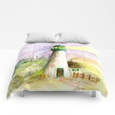 Lighthouse At Dusk Comforters