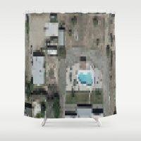 las vegas Shower Curtains featuring Las Vegas by Mark John Grant