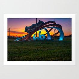 Vibrant Morning Light at Route 66 Rising - Tulsa Oklahoma Art Print