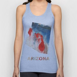 Arizona map outline Red Blue nebulous watercolor Unisex Tank Top