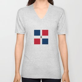 Flag of the dominican republic Unisex V-Neck