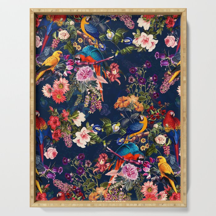 FLORAL AND BIRDS XII Serving Tray