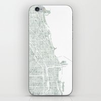 chicago map iPhone & iPod Skins featuring Map Chicago city watercolor map by Anne E. McGraw