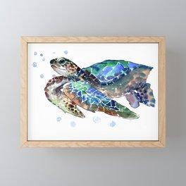 Sea Turtle, Green Blue, sea turtle under water, sky blue Framed Mini Art Print