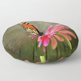 Monarch Butterfly and Pink Zinnia Floor Pillow