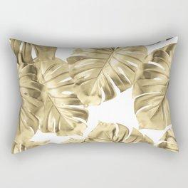 Gold Monstera Leaves on White 2 Rectangular Pillow