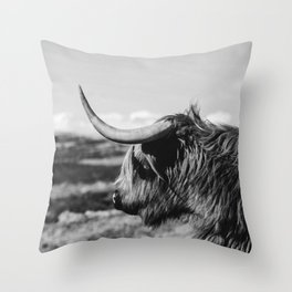 Highland Cow Looking in the Distance Black and White Throw Pillow