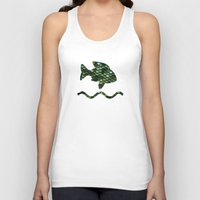 bisexual Tank Tops featuring Aqua and green sparkling scales by Better HOME