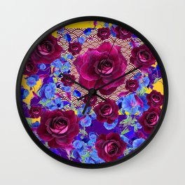 Wine Roses Blue Morning Glories Purple Asian Art Design Wall Clock