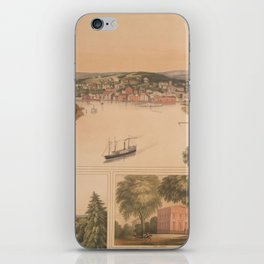 Vintage Pictorial Map of Norwich CT (1854) iPhone Skin