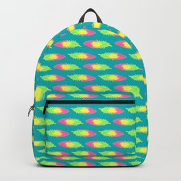 Tropical Green Feather Striped Surface Pattern Design Backpack