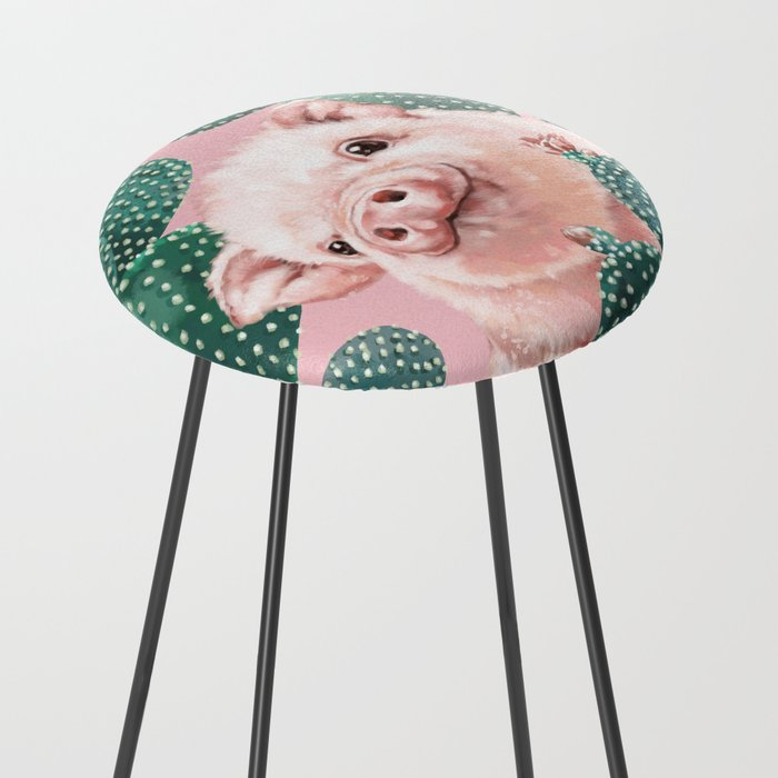 Baby Pig And Cactus In Pink Counter Stool By Bignosework