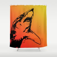 attack on titan Shower Curtains featuring Attack by dan black