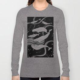 Beluga Whale Pod (Blue Variant) Long Sleeve T-shirt