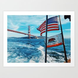 Golden Gate Bridge with American Flag and California Flag Art Print