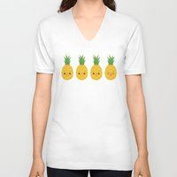 pineapples V-neck T-shirts featuring Pineapples by Sara Showalter