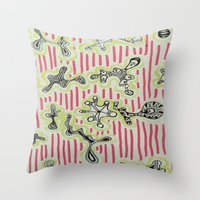 aliens Throw Pillows featuring aliens by DanaBanana