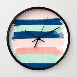 Stripes painterly pastel trendy color way modern home decor dorm nursery style Wall Clock