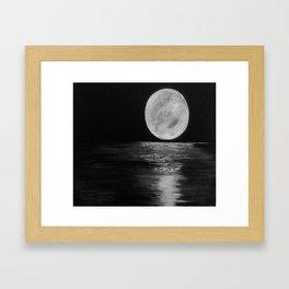 Moonlit. Sunset, water, moon, full moon, orginal painting by Jodilynpaintings. Black and white Framed Art Print