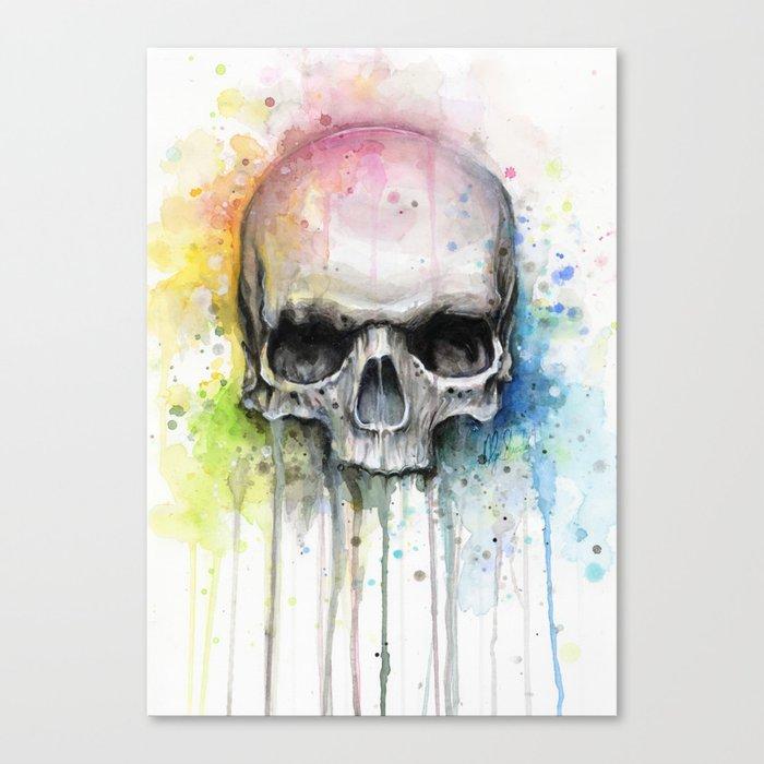 Skull Rainbow Watercolor Canvas Print By Olechka Society6