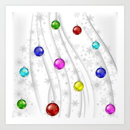 Christmas balls with background Art Print