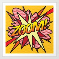 comic book Art Prints featuring Comic Book ZOOM! by The Image Zone
