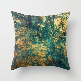 Exquisite Aqua-Green Marble With Gold-Copper Veins Throw Pillow