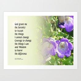 Serenity Prayer Bell Flowers Art Print