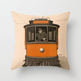 History of the Trolley car 1905 Throw Pillow