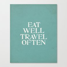 Eat Well Travel Often Blue Canvas Print