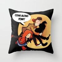 tintin Throw Pillows featuring The Adventures of Pond and Doctah by The Longfall of 1979