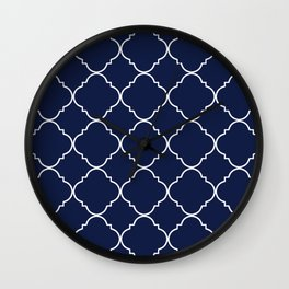 Navy Blue Moroccan Minimal Wall Clock