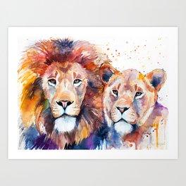 Lion Lioness Love Art Print